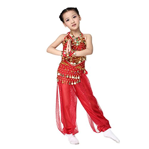Harems Jewel Belly Dancer Costumes (Kid's Belly Dance Girl Halter Top, Harem Pants, Halloween Costumes Set , red)