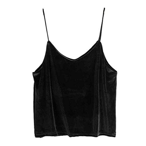 Women's Vest,Neartime V-neck Velvet Camisole Bandage Backless Crop Top (XL, Black) - Velvet Down Jacket