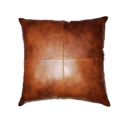 Leather Scan 100% Lambskin Leather Pillow Cover - Sofa Cushion Case - Decorative Throw Covers Living Room & Bedroom - Tan Antique  - 16x16 Inches