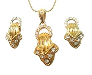 22k Gold Plated Rhinestone Necklace and Earrings Set 10189-14