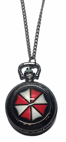 Resident Evil Umbrella Logo Glass Dome Pendant Pocket Watch