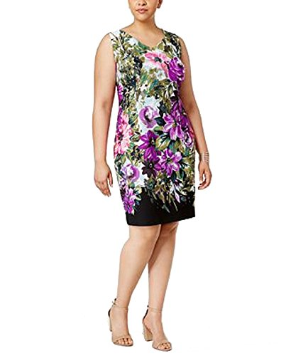 Floral Sheath Purple Size Connected Printed Plus Dress AFwUn1tx
