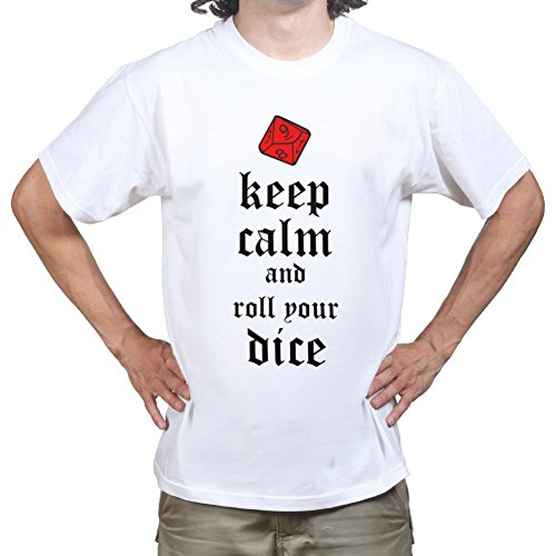 Price comparison product image CeePeeTee Mens Keep Calm and Roll The Dice Gaming T-shirt 3XL White