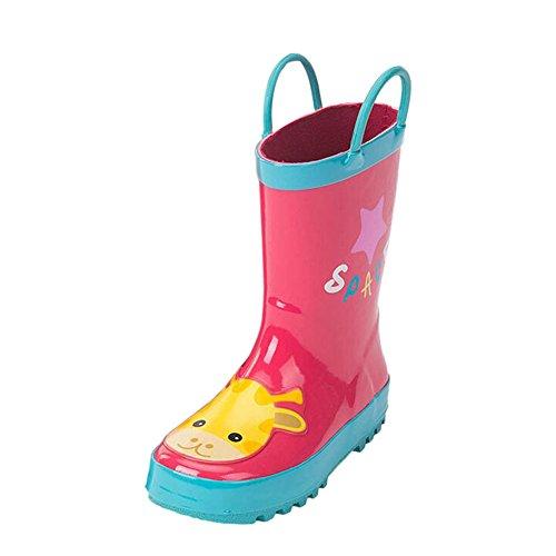 Haodasi Kinder Niedlich Ziehen Griffe Rutschfest Regenstiefel Jungen Mädchen Gummistiefel Wasser Schuhe Regen Stiefel Schneestiefel Winter Stiefel Rose