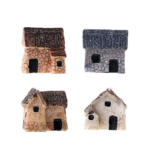 Chef parade 4Pcs/Set Miniature Gardening Landscape Village Stone Micro Ornament Resin Mini Garden Cute Houses Decoration