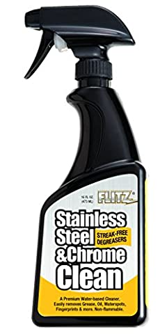 Flitz SP 01506 Clear Stainless Steel and Chrome Cleaner with Degreaser, 16 oz. Spray Bottle - Water Spots Chrome