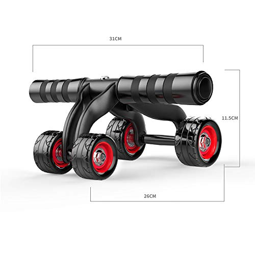 MaxFox 4 Wheels Abdominal Muscles Roller Arms Workouts Equipment ABS Push Wheel Home Exercise Fitness Training Equipment