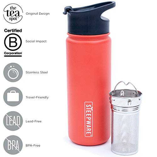 The Tea Spot, Double-Walled Mountain Tea Tumbler, Insulated Stainless Steel Tumbler with removable tea infuser for hot and cold brewing, Water infuser (Sunset Red, 16 oz) ()