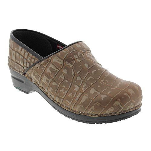 (Sanita Professional Women's Holo Croco Print Leather Clog (Factory 2nd) (Color: Brown/Size: 39 EU))