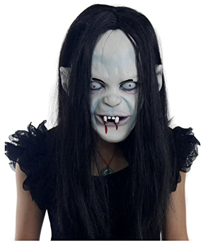 Sadako Costume (wanture Latex Sadako Mask Halloween Cosplay Terrifying Costume Party Head Mask)