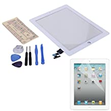 HDE iPad 2 Digitizer Touch Screen Replacement Parts w/ 7-Piece Tool Kit, Adhesive Tape, and Screen Protector (White)