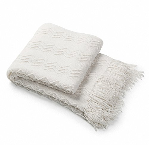 """Bourina Throw Blanket Textured Solid Soft Sofa Couch Decorative Knitted Blanket, 50"""" x 60"""",White"""