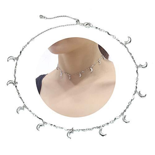 EGOO YAMEE Layered Moon Pendant Choker Necklace Cz White Gold Plated Handmade Choker Necklace for Women Girls