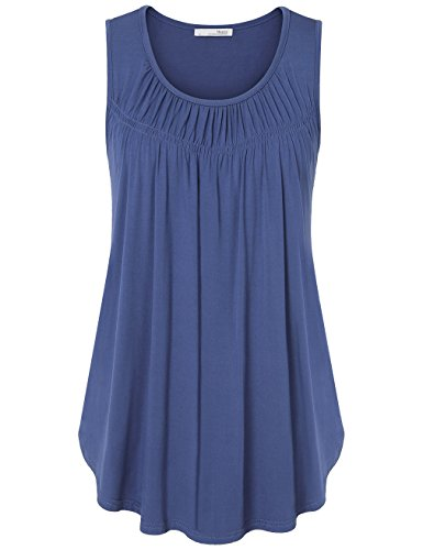 Messic Womens Pleated Sleeveless Shirts