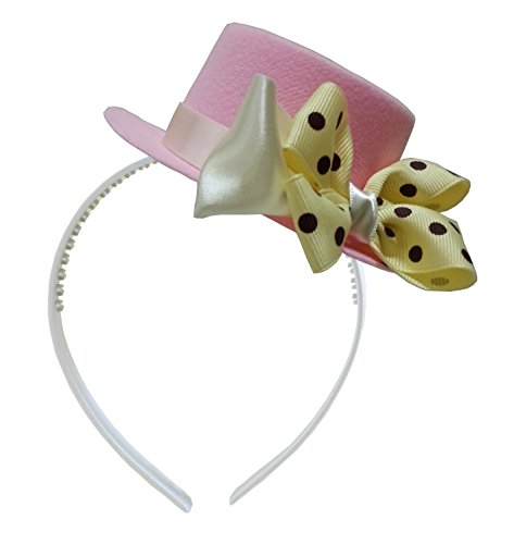 [Mad Hatter Yellow Bow Pink Mini Top Hat Headband Alice in Wonderland Birthday Tea Party Baby Shower] (Kids Mad Hatters Tea Party Costumes)