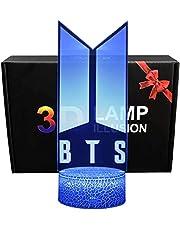 BTS 3D Glow LED Nachtlampje Inspiratie 16 Kleuren Optische Illusie Lamp Touch Sensor voor Thuis Party Festival Decor Geweldig Gift Idee