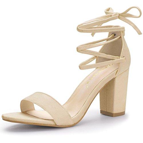 bdbb820d42 Allegra K Women's Chunky Heel Lace up Dress Beige Sandals - 5.5 M US ...