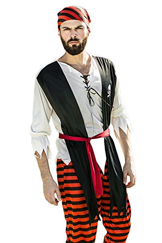 [Adult Men Rebel Pirate Halloween Costume Sea Swashbuckler Dress Up & Role Play (Medium/Large, red, white,] (Pirate Halloween Costumes Ideas)