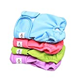 Luxja Reusable Female Dog Diapers (Pack of 4), Washable Wraps for Female Dog (Small, Sky Blue+Purple+Green+Rose Red)