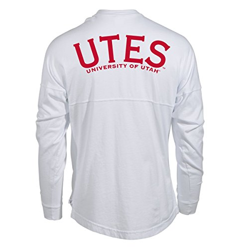 Official NCAA University of Utah Utes The U U of U Swoop Women's Long Sleeve Spirit Wear Jersey T-Shirt. -