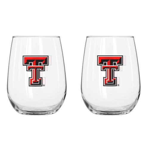 NCAA Texas Tech Red Raiders Curved Beverage Glass, 16-ounce, 2-Pack (Raiders Red Tech Texas Glass)