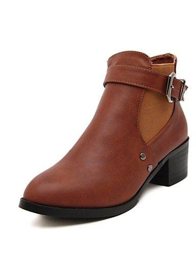 us8 Eu38 Zapatos Casual Brown Cn39 Uk6 Marrón 5 us7 Anfibias Negro Robusto Black Uk5 Sintético Mujer Tacón Cuero Xzz De Cn38 Botas 5 Eu39 Owdn40RRF