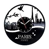 Paris Vinyl Record Wall Clock, Paris Wall