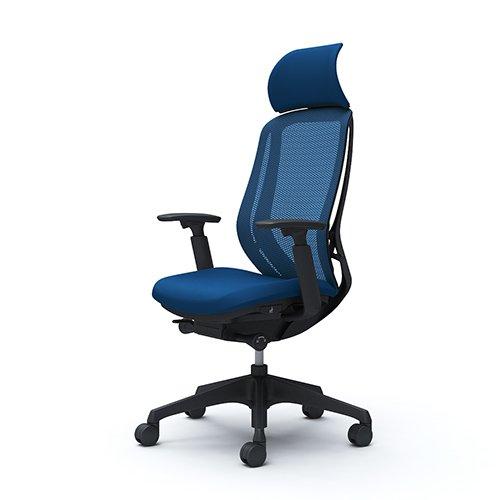 オカムラ オフィスチェア シルフィ― エキストラハイバック メッシュ アジャストアーム 樹脂脚 ブラックフレーム C68AXR-FMP3 ミディアムブルー B00L9T9THG  ミディアムブルー