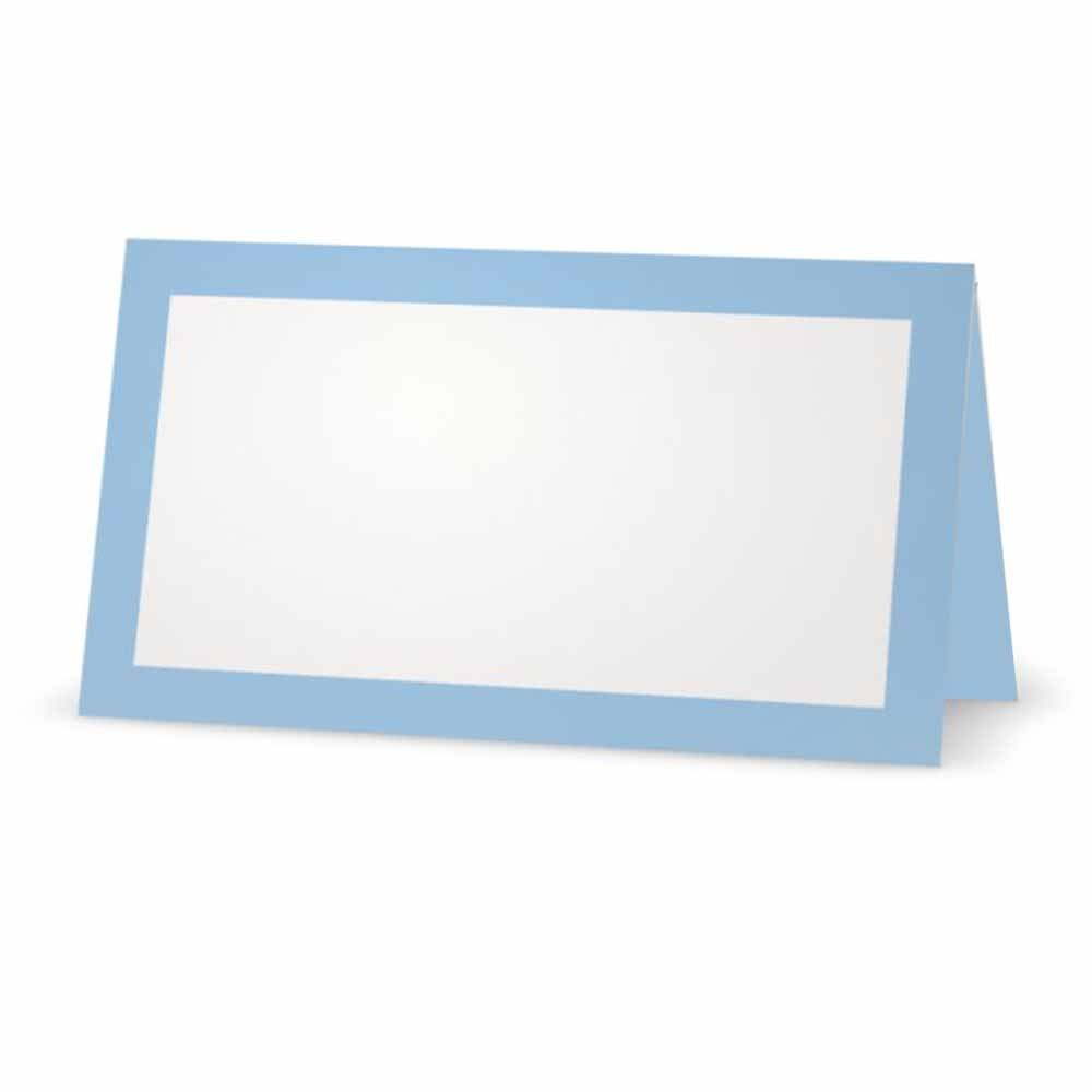 Baby Blue Place Cards - Flat or Tent - 10 or 50 Pack - White Blank Front with Solid Color Border - Placement Table Name Seating Stationery Party Supplies Occasion or Dinner Event (50, Tent Style)