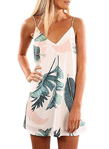 (Hount Womens V Neck Halter Neck Floral Chiffon Mini Beach Dress Summer Loose Flowy Casual Sundress (Small,)