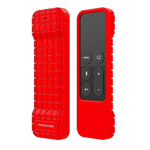MoKo Silicone Case Compatible with Apple TV 4K/4th Gen Remote, Lightweight Shockproof Protective Cover with Non-Slip Silicone Fit Apple TV 4K Siri Remote Controller - Red