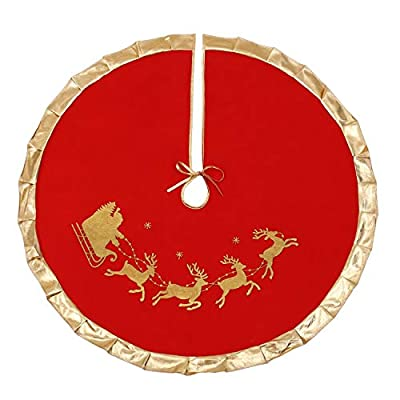 "VALORCASA Christmas Tree Skirt 36"" 48"",Flannelette Santa Reindeer Xmas Party Holiday Decorations for 4.5Ft/5Ft/6Ft/7Ft/8Ft Christmas Tree"