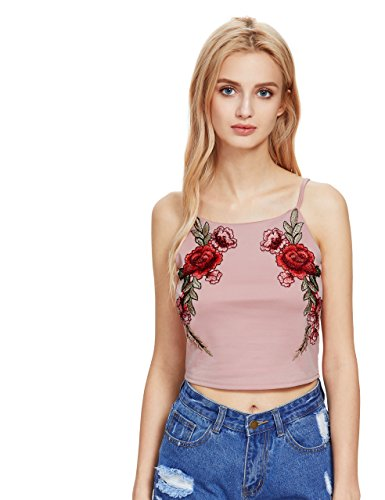 Romwe Women's Sexy Embroidered Rose Patch Crop Cami Tank Top Pink L (Surplice Embroidered)