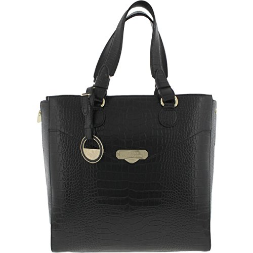 Versace Collection Womens Leather Embossed Tote Handbag Black - Versace Discount