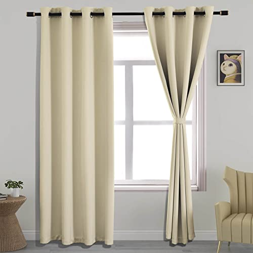 YIUMULA Blackout Curtains for Living Room, Room Darkening Curtains 84 Inch Length 2 Panels Set, Thermal Insulated Window Curtain Panels with Top Grommet, 52 Inch Width, Beige