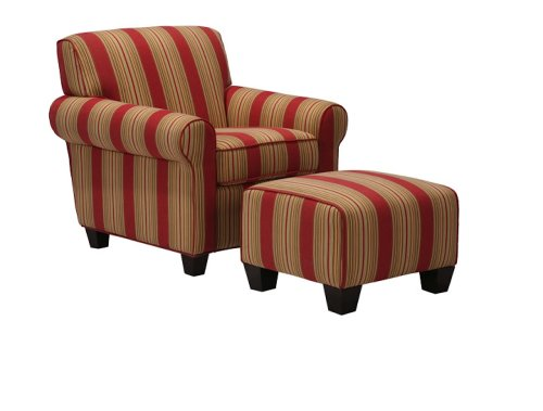 Handy Living Washington Chair and Ottoman, Cabana Crimson