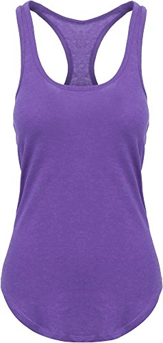 Ma Croix HC Women's Racer Back Tank Top Soft Scallop Bottom Casual Sleeveless Jersey (Small/Purple)