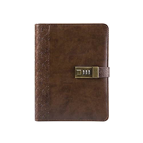 - Longpro Vintage European Style Retro PU Leather Writing Journal Notebook, A5 Size Refillable Loose Leaf Password Diary Notepad with Combination Lock, Card Slots, Pen Holder(Pen Included) (Brown)
