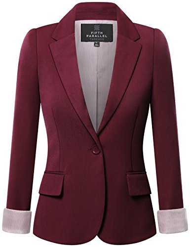 - FPT Womens Basic Boyfriend Blazer BURGUNDY MEDIUM