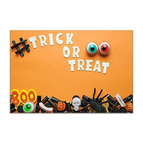 Washable Easy to Clean Holiday Halloween Trick Or Treat Candy Sweets Placemat for Kitchen Table Heat-resistand Table Mats 12x18 inches]()