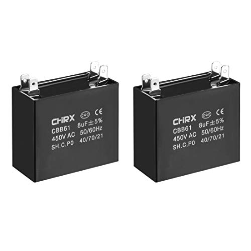 - uxcell CBB61 Run Capacitor 450V AC 8uF Doule Insert Metallized Polypropylene Film Capacitors for Ceiling Fan 2pcs