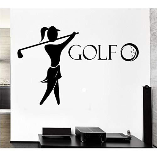 Smydp Golf Vinyl Wall Decal Golf Club Player English Sports Girl Fan Mural Art Wall Sticker Girls Bedroom Home Decorative Decoration,110Cmx175Cm ()