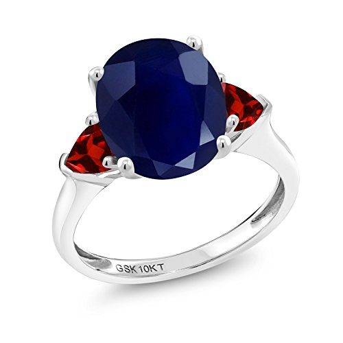 Garnet Ring White Gold Jewelry - 5.68 Ct Oval Blue Sapphire Red Garnet 10K White Gold Ring (Size 8)
