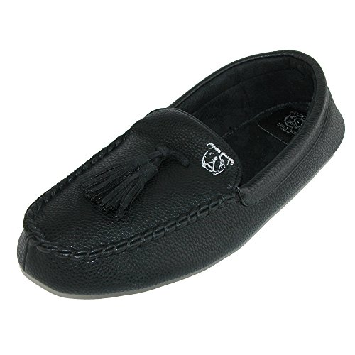 Ugly Me Men's Faux Leather John Moccasin Slipper, XLarge (12-13), Black