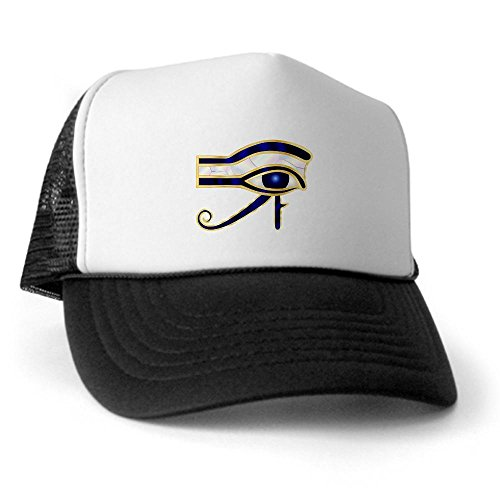 Truly Teague Trucker Hat (Baseball Cap) Egyptian Eye of Horus or Ra - Black and White (Pharoah Hat)