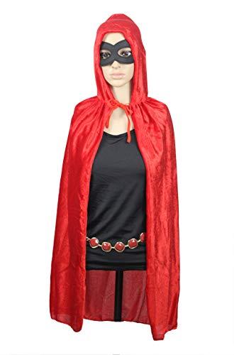 Teen Titans Go Kid Hooded Cloak Robe with Eye Mask Waist Belt Cosplay Set (Red) -