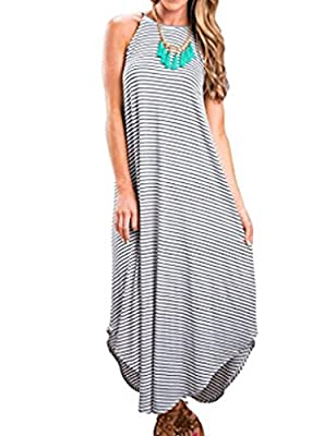 Halife Women's Summer Casual Stripe Sleeveless Loose Beach Maxi Dress