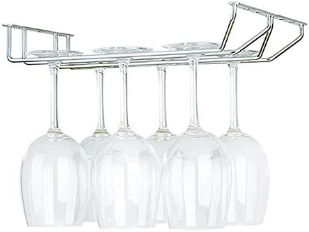 ワイングラス ホルダー 2列金属キャビネットゴブレットワインラックワイングラスホルダーステンレススチールぶら下げワイングラス収納キッチンバーハンガー ワイングラ (Color : Silver, Size : 55cm 2 Rows)