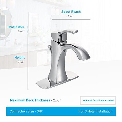 Moen Voss One-Handle High-Arc Bathroom Faucet with Drain Assembly, Chrome (6903) by Moen (Image #2)