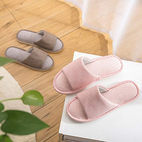Anti couleur Td Taille Et Femelle 37 Brown Coton Intérieur Plancher Femme De 38code En Bois Lin Automne Pantoufles dérapant Pink D'hiver Printemps OUaOnA6r